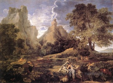 classical art - Landscape with Polyphemus classical painter Nicolas Poussin