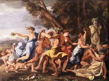 classical Canvas - Bacchanal before statue classical painter Nicolas Poussin