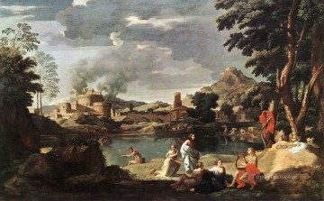 landscape Painting - Landscape with Orpheus and Euridice classical painter Nicolas Poussin