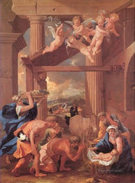 Adoration Art - The Adoration of the Shepherds classical painter Nicolas Poussin