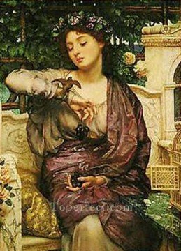 Row Painting - Lesbia and her sparrow girl Edward Poynter