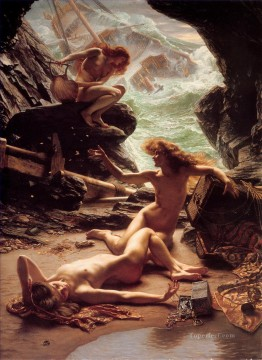 vagabonds resting in a cave Painting - The Cave of the Storm Nymphs girl Edward Poynter