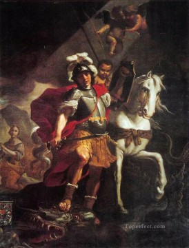 Mattia Preti Painting - St George Victorious Over The Dragon Baroque Mattia Preti