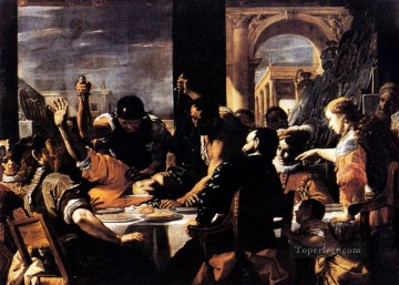 baroque Painting - The Banquet Of Baldassare Baroque Mattia Preti