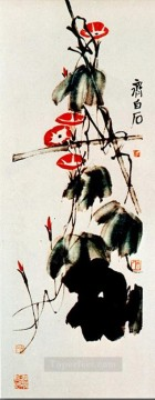 Qi Baishi Painting - Qi Baishi bindweed and grapes old China ink