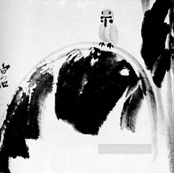 Qi Baishi Painting - Qi Baishi sparrow on a banana leaf old China ink