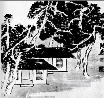 china - Qi Baishi trees in the studio old China ink