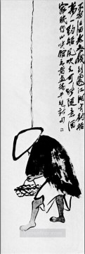 rod Canvas - Qi Baishi a fisherman with a fishing rod old China ink