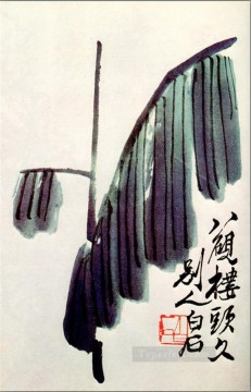 Qi Baishi Painting - Qi Baishi banana leaf old China ink