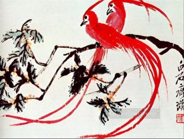 Qi Baishi Painting - Qi Baishi birds of paradise old China ink
