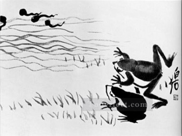 Qi Baishi Painting - Qi Baishi frogs and tadpoles old China ink