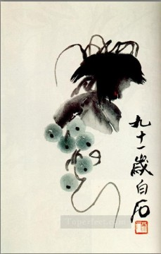 Qi Baishi Painting - Qi Baishi grapes old China ink