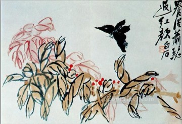 Qi Baishi Painting - Qi Baishi impatiens and butterfly old China ink