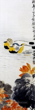 Qi Baishi Painting - Qi Baishi mandarin duck old China ink