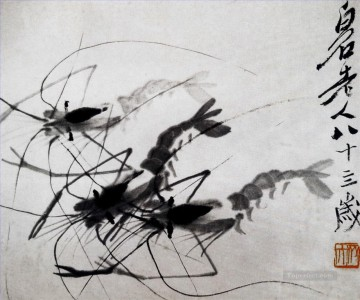 Qi Baishi Painting - Qi Baishi shrimp 1 old China ink
