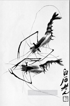 Qi Baishi Painting - Qi Baishi shrimp old China ink