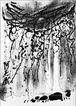 Qi Baishi Painting - Qi Baishi wisteria old China ink
