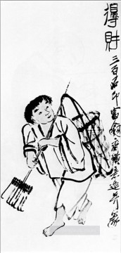 Qi Baishi Painting - Qi Baishi a peasant with a rake old China ink