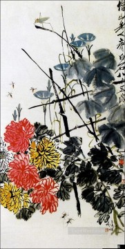 Qi Baishi Painting - Qi Baishi bugs and flowers old China ink