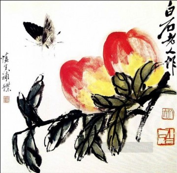 Qi Baishi Painting - Qi Baishi butterfly and peach old China ink