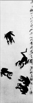 Qi Baishi Painting - Qi Baishi frogs old China ink