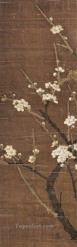 Qian Xuan Painting - white plum blossom old China ink