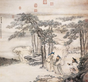 Qian Xuan Painting - assistants of emperor old China ink