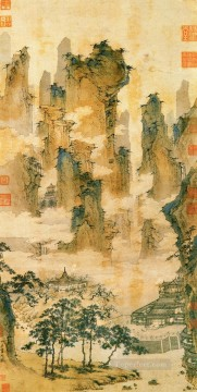 pavilions in the mountains of the immortals old China ink Oil Paintings