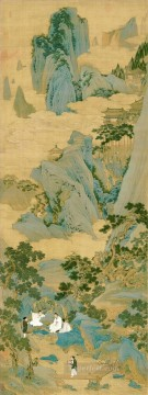 hermits in mountains old China ink Oil Paintings