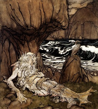 Row Painting - A Crowned Merman illustrator Arthur Rackham
