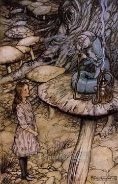 Rabbit Painting - Alice in Wonderland The Rabbit Sends in a Little Bill illustrator Arthur Rackham