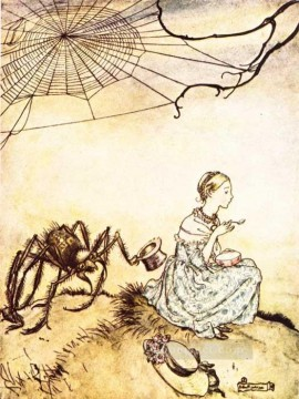 Mother Goose Little Miss Muffet illustrator Arthur Rackham Oil Paintings