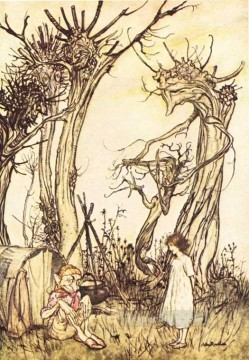 Mother Goose Man in the Wilderness illustrator Arthur Rackham Oil Paintings
