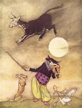 Mother Goose The Cow Jumped Over the Moon illustrator Arthur Rackham Oil Paintings