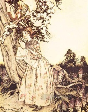 Maid Works - Mother Goose The Fair Maid who the first of Spring illustrator Arthur Rackham