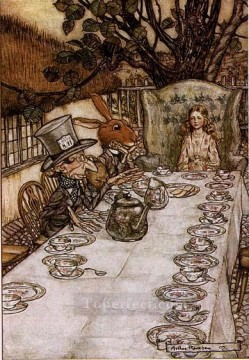 Alice in Wonderland A Mad Tea Party illustrator Arthur Rackham Oil Paintings