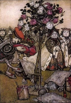 Queens Canvas - Alice in Wonderland The Queens Croquet Ground illustrator Arthur Rackham