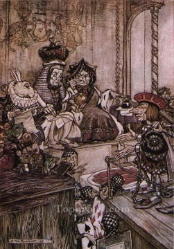 Alice in Wonderland Who Stole the Tarts illustrator Arthur Rackham Oil Paintings