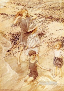 Children By The Sea illustrator Arthur Rackham Oil Paintings