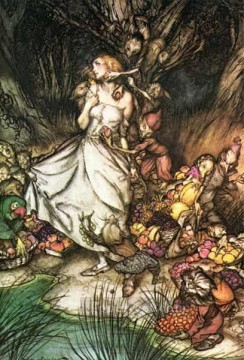White Works - Goblin Market White and golden Lizzie stood illustrator Arthur Rackham