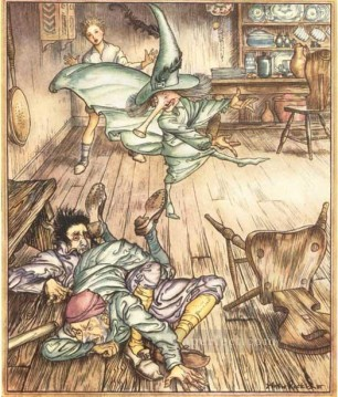 King of the Golden River So there they lay all three illustrator Arthur Rackham Oil Paintings