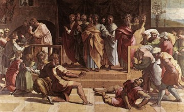 Ananias Painting - The Death of Ananias Renaissance master Raphael