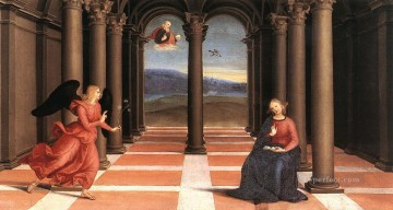 The Annunciation Oddi altar predella Renaissance master Raphael Oil Paintings
