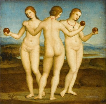 horce races racing Painting - The Three Graces Renaissance master Raphael