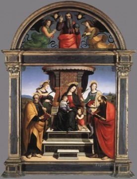 Saint Art - Madonna and Child Enthroned with Saints 1504 Renaissance master Raphael