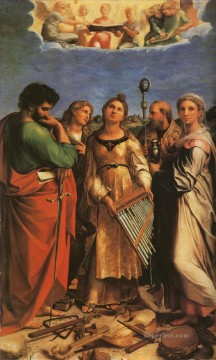 St Cecilia with Sts Paul John Evangelists Augustine and Mary Magdalene master Raphael Oil Paintings