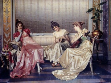 Elegant Figures In An Interior lady Vittorio Reggianini Decor Art
