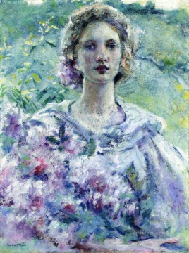 girl lady woman women Painting - Girl with Flowers lady Robert Reid