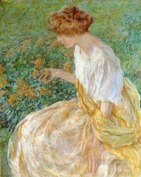 Artists Oil Painting - The Yellow Flower aka The Artists Wife in the Garden lady Robert Reid