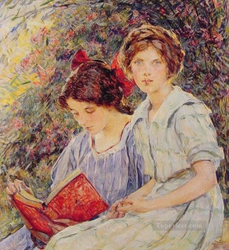 Girls Canvas - Two Girls Reading lady Robert Reid